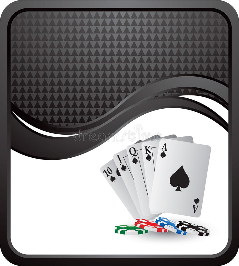 Spielkarten und Chips auf schwarzer checkered Welle vektor abbildung