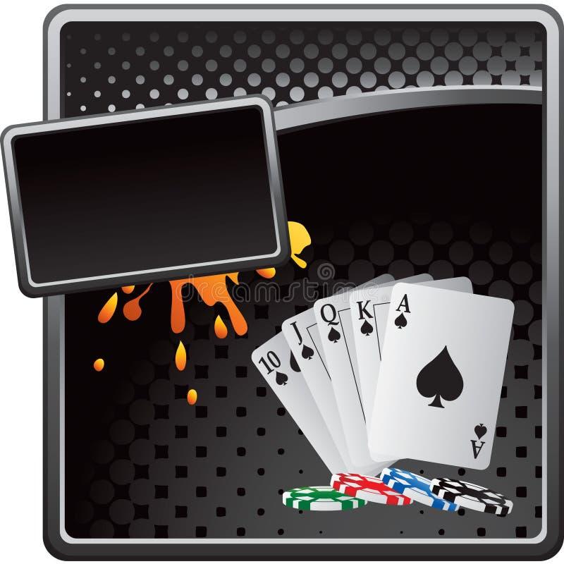 Spielkarten und Chips auf schwarzer Halbtonfahne lizenzfreie abbildung
