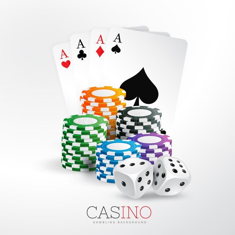 Spielkarten und Chips des Kasinos mit Würfeln vector Hintergrund stock abbildung
