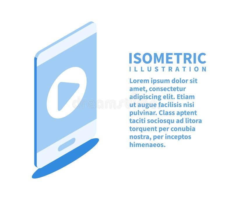 Spielknopf auf Smartphoneschirm, Videoikone Isometrische Schablone für Webdesign in der flachen Art 3D Auch im corel abgehobenen  stock abbildung