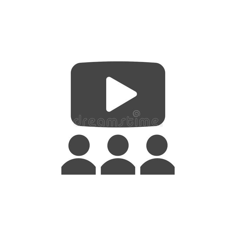 Spielknopf und abstrakte Leute Netzkonferenz, on-line-Darstellung oder aufpassende Filmkonzeptikone Multimediaknopf vektor abbildung