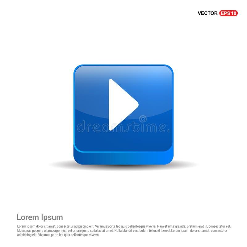 Spielknopfikone - Knopf des Blau-3d lizenzfreie abbildung