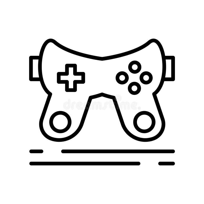 Spielkonsolen-Ikonenvektor lokalisiert auf weißem Hintergrund-, Spielkonsolenzeichen, Linie Symbol oder linearem Elemententwurf i stock abbildung