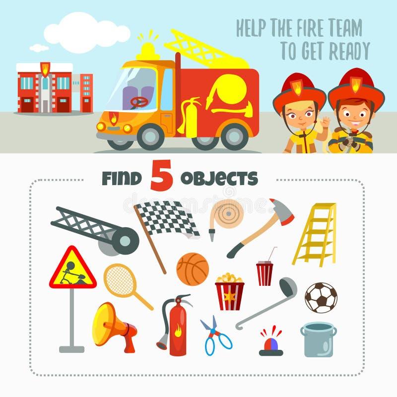 Spielkonzept über Feuerteam lizenzfreie abbildung