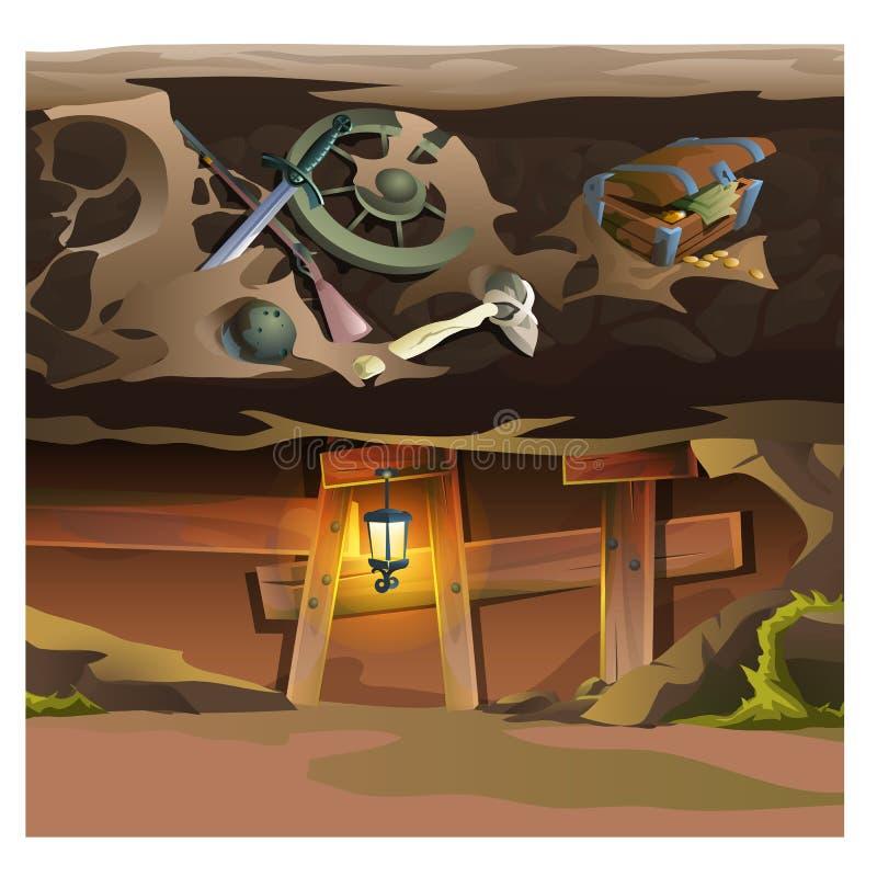 Spielkonzept, Untertagetunnel Karikaturstandort stock abbildung