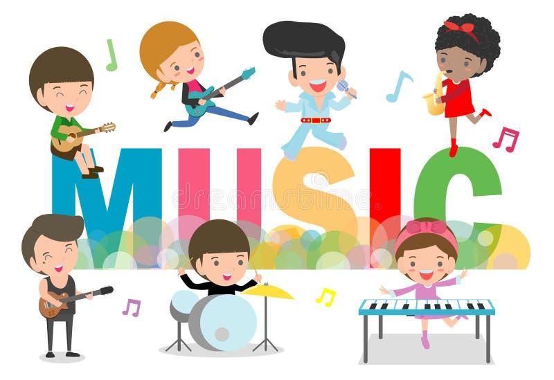 Spielmusikkonzept der Kindergruppe Kinder, die Musikinstrumente, verschiedene Aktionen des netten Kindermusikers spielen Musik sp stock abbildung