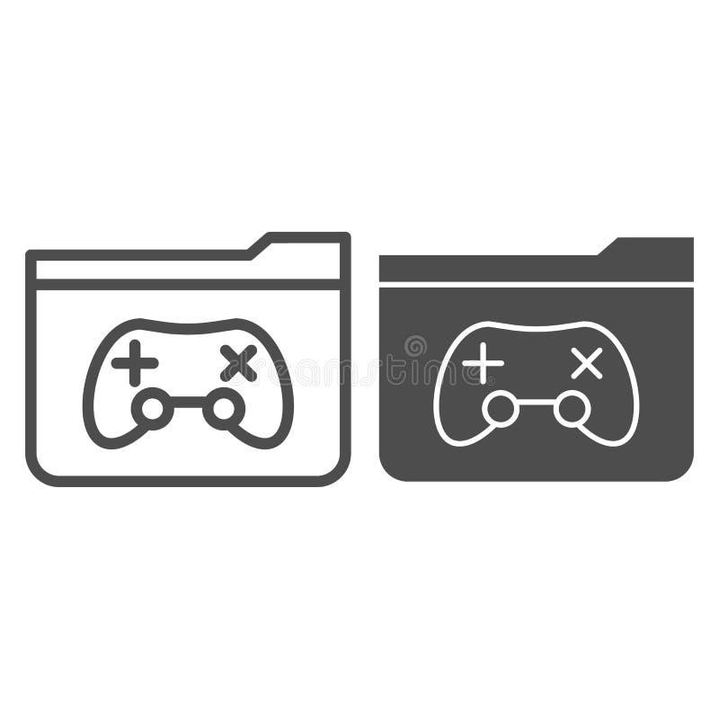 Spielordnerlinie und Glyphikone Ordner mit der Spielauflagen-Vektorillustration lokalisiert auf Weiß Computerordnerentwurf vektor abbildung