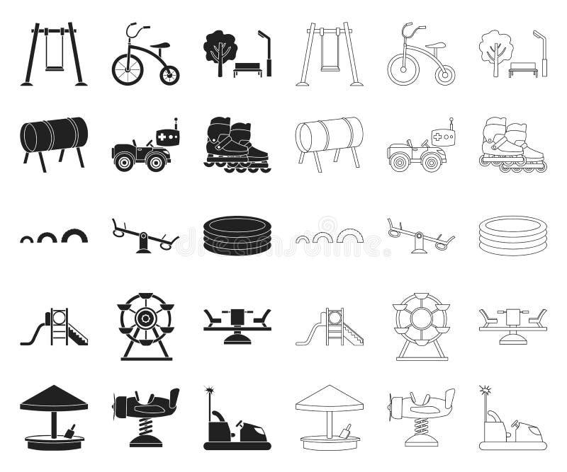Spielplatz, Unterhaltung schwarz, Entwurfsikonen in gesetzter Sammlung für Entwurf Anziehungskraft- und Ausrüstungsvektorsymbolvo stock abbildung