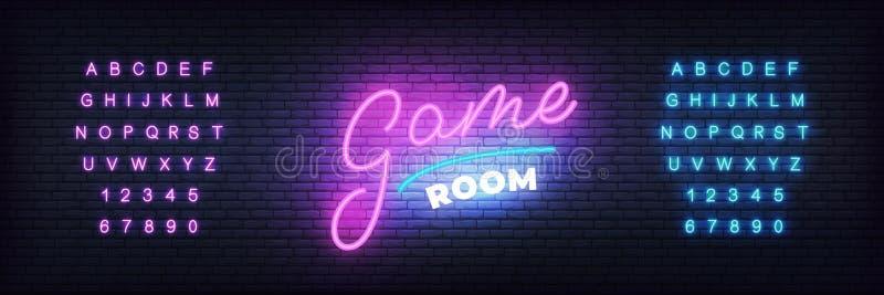 Spielraum-Neonschablone Glühen, beschriftend für Gamerverein stock abbildung
