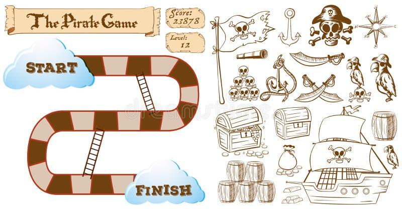Spielschablone mit Piratenthema stock abbildung