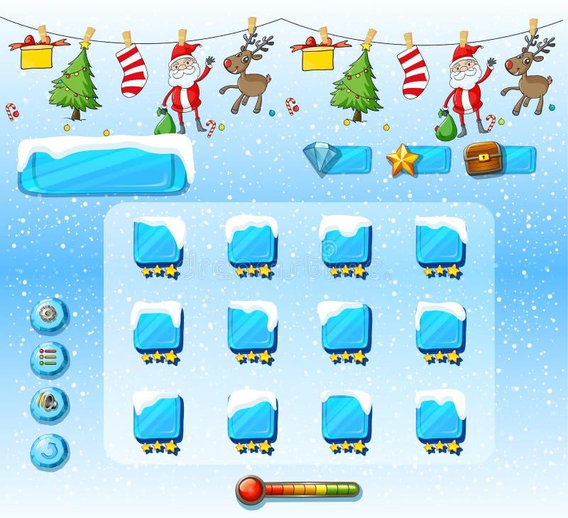 Spielschablone mit Weihnachtsverzierungen vektor abbildung