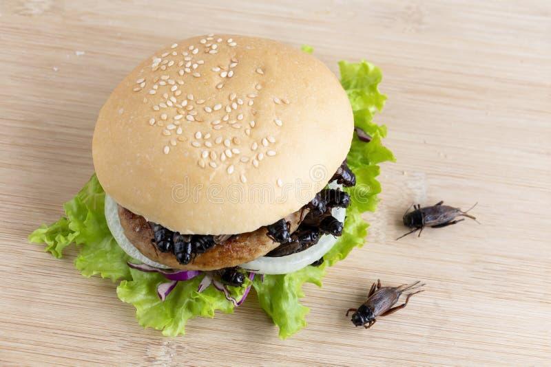 Spielt Insekt f?r das Essen als Nahrungsmittel im Brotburger kricket, der von gebratenem Insektenfleisch mit Gem?se auf Holztisch stockfotografie