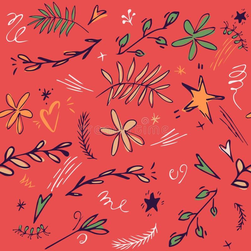 Spielt nahtloser Musterhintergrund des Babys mit nettem Stern, Blätter, Blume, Gekritzel die Hauptrolle gezeichnete Illustration  stock abbildung