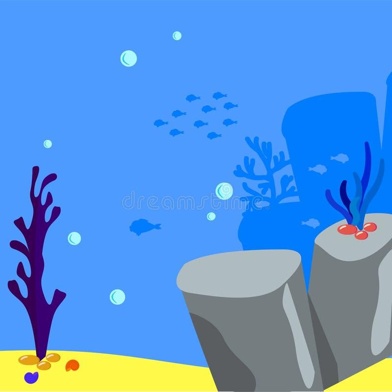 Spielvektorunterwasserhintergrund-Karikaturillustration von Felsen und von Meerespflanze auf der sandigen Unterseite Blasen wässe vektor abbildung