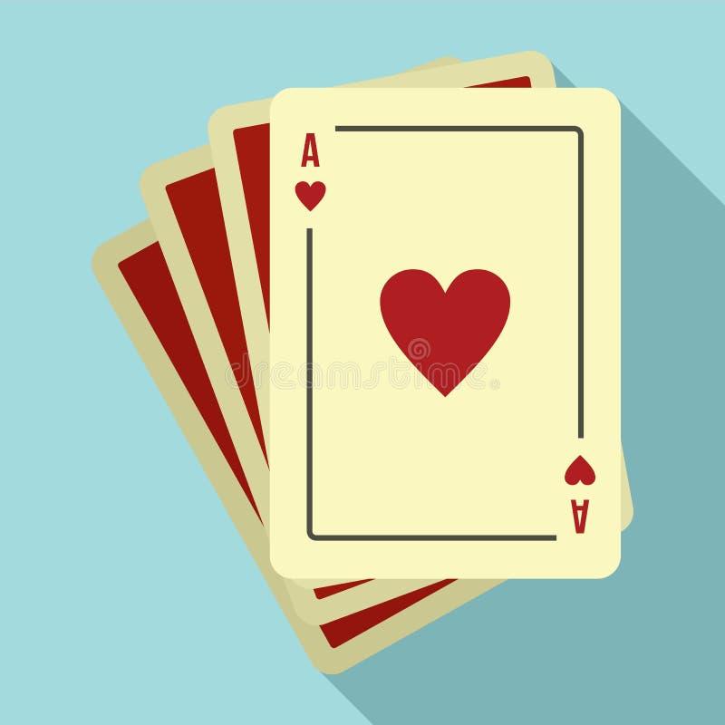 Spielvermögens-Kartenikone, flache Art stock abbildung