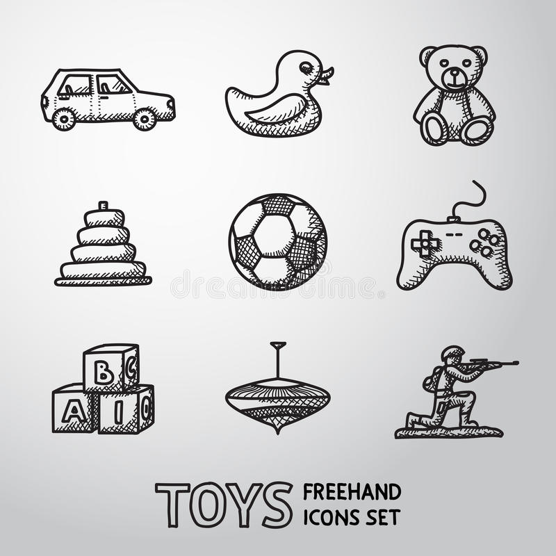 Spielwaren übergeben die gezogenen Ikonen, die mit eingestellt werden - Auto, ducken sich, tragen stock abbildung