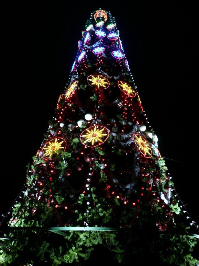 Spielwaren auf grünem Weihnachtstannenbaum stockbilder