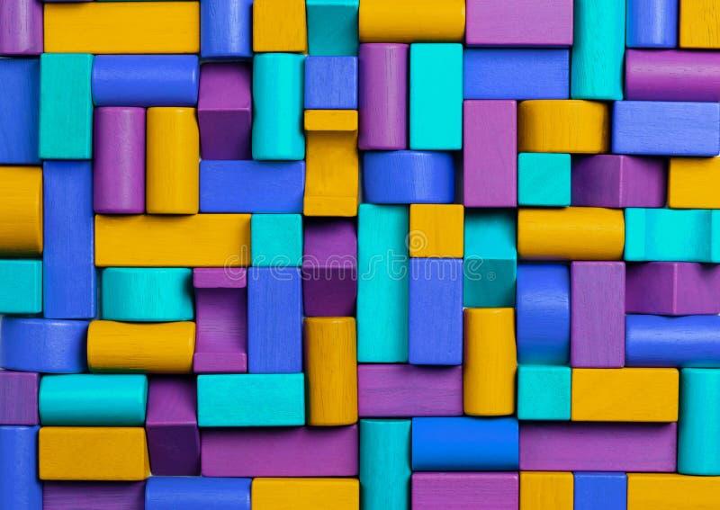 Spielwaren-Block-Hintergrund, abstraktes Mosaik des mehrfarbigen Kinderspielzeugs stockfotografie