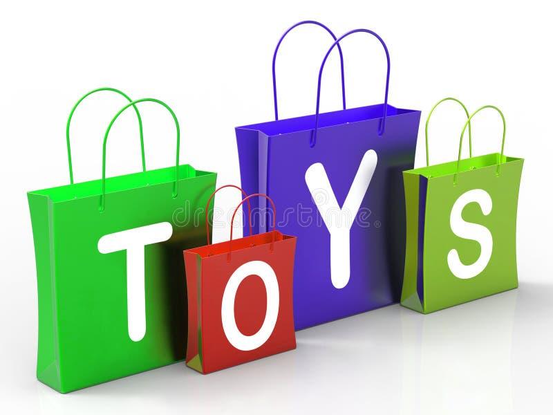 Spielwaren sacken das Show-Kleineinkaufen und Kaufen ein stock abbildung