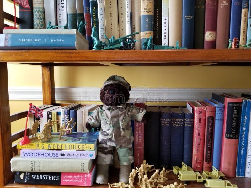 Spielwaren und betreffen das Bücherregal lizenzfreies stockfoto