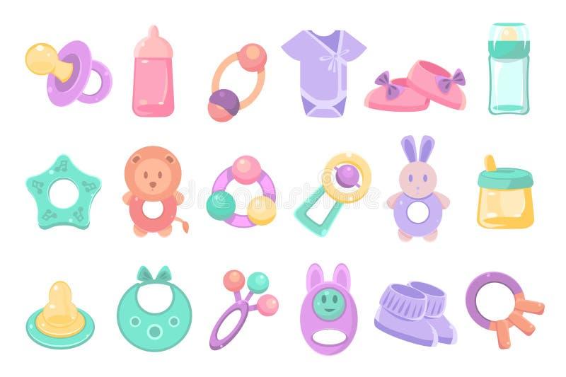 Spielwaren und Zubehör für Babypflasterstein, neugeborenes Kindersorgfalt, die Fütterung und Kleidungsvektor Illustrationen auf e lizenzfreie abbildung