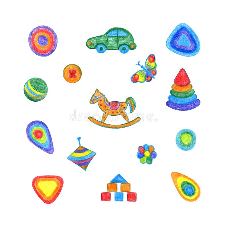 Spielwarensatzhandzeichnung der Kinder stock abbildung