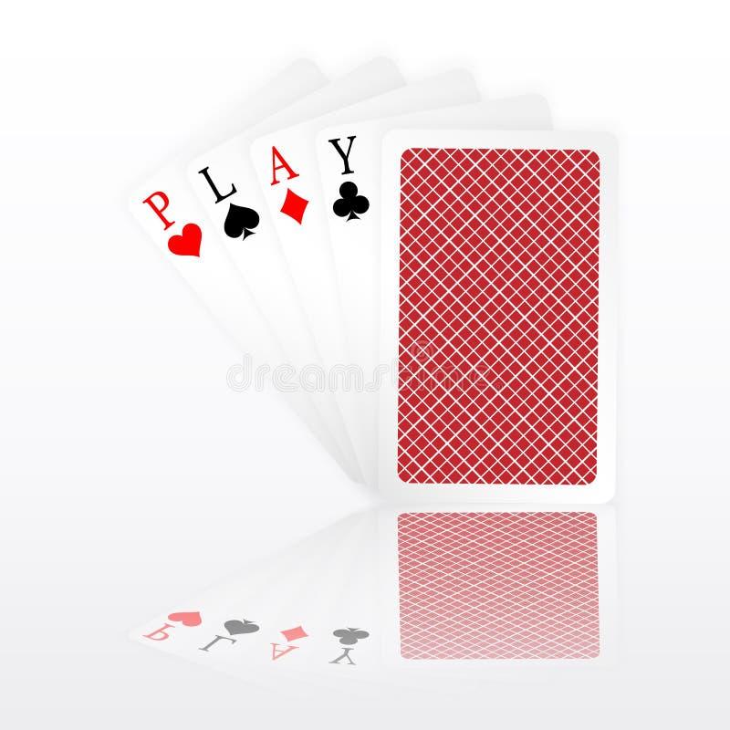 Spielwortas-Pokerhandfliege und man schlossen Spielkarteklagen Gewinnende Schürhakenhand vektor abbildung