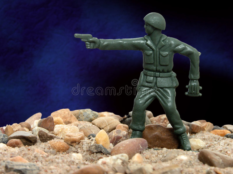Spielzeug-grüner Armee-Mann 01 stockbilder
