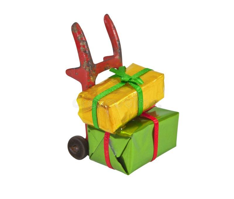 Spielzeug Handtruck mit Minigeschenken lizenzfreie stockbilder