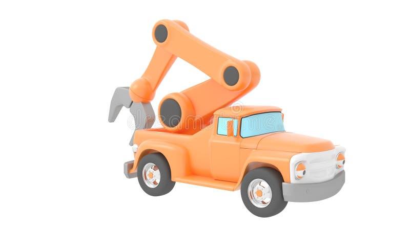 Spielzeug-LKW-Kran getrennt über weißem backgroung Wiedergabe 3d stock abbildung