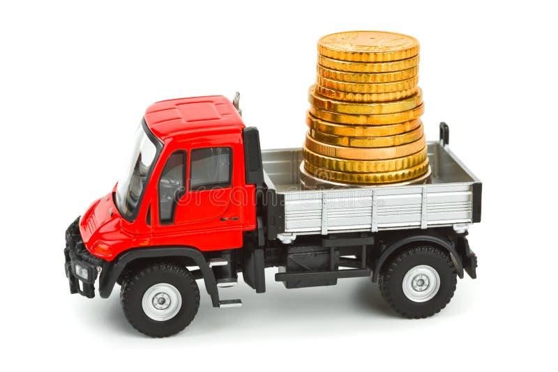 Spielzeug-LKW mit Geld stockbilder