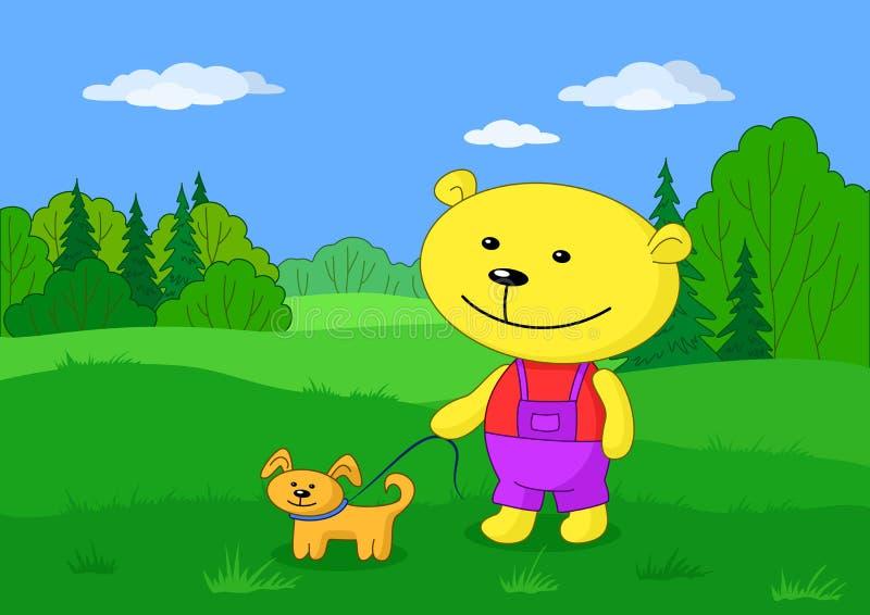 Spielzeug-Teddybär mit Hund stock abbildung
