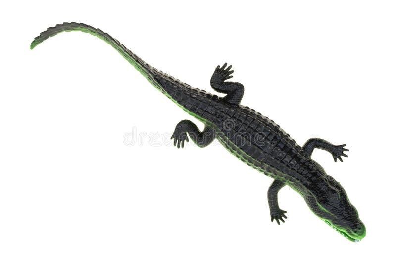 Spielzeugalligator auf einem weißen Hintergrund lizenzfreie stockfotografie