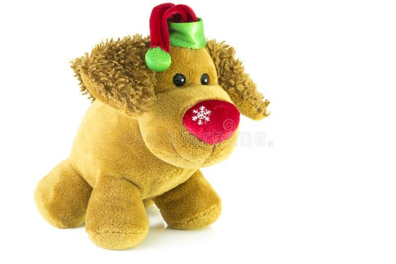 Spielzeughund, neues Year& x27; s-Geschenk von Santa Claus Weißer Hintergrund lizenzfreies stockbild