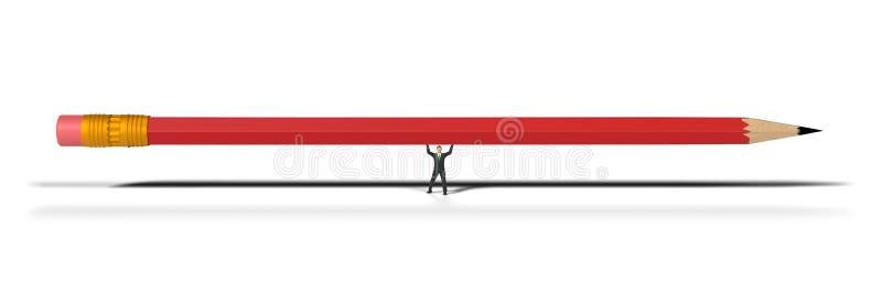 Spielzeugminiaturgesch?ftsmannzahl, die einen roten Bleistift, Konzept lokalisiert auf wei?em Hintergrund anhebt lizenzfreies stockfoto
