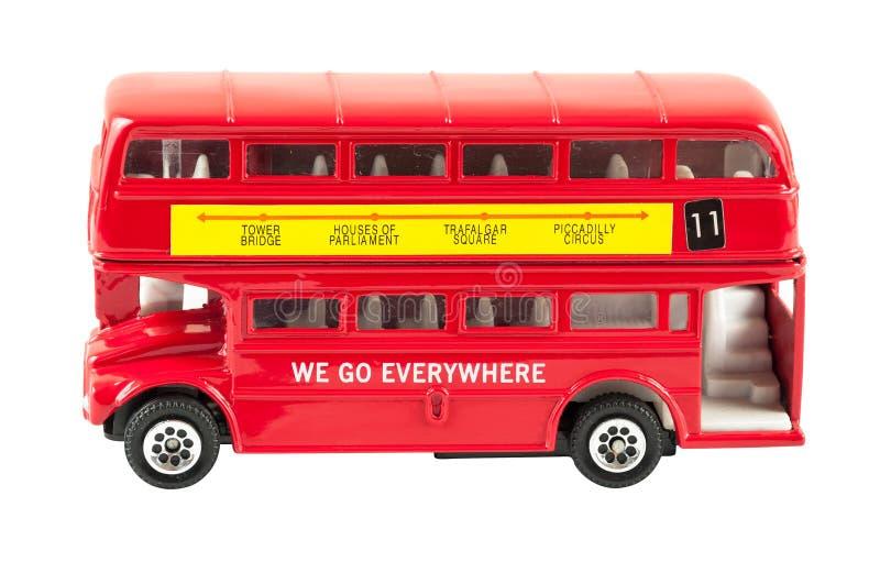 Spielzeugmodell des roten Doppeldeckerbusses lizenzfreies stockfoto