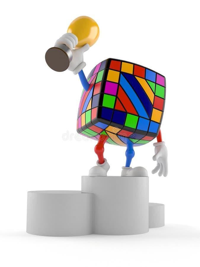 Spielzeugpuzzlespielcharakter auf dem Podium, das Trophäe hält lizenzfreie abbildung
