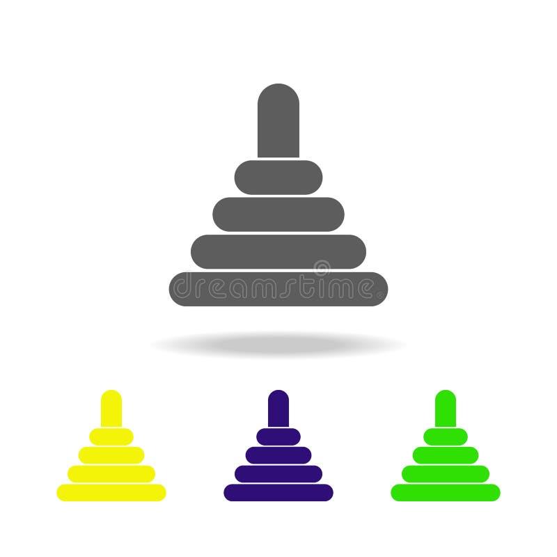 Spielzeugpyramide färbte Ikonen Element von Spielwaren Kann für Netz, Logo, mobiler App, UI, UX verwendet werden stock abbildung