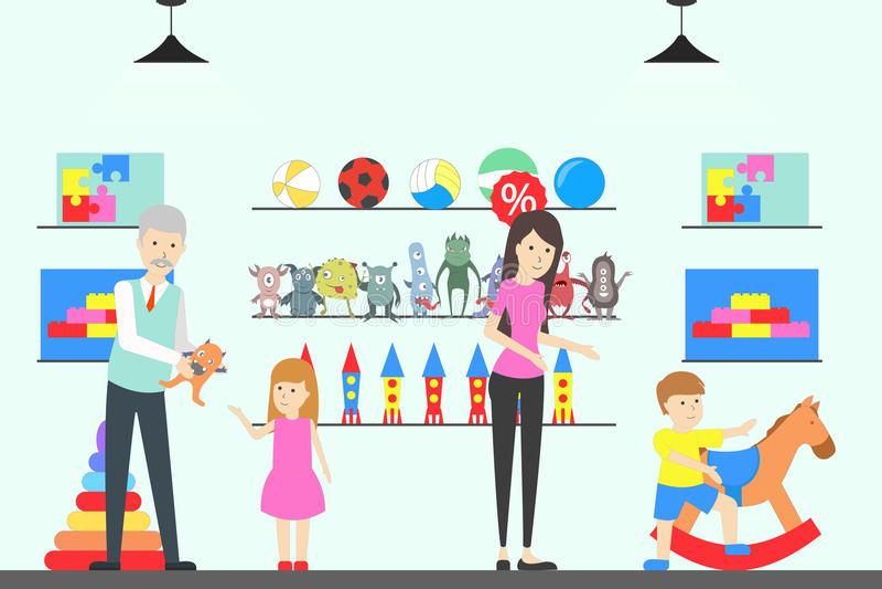Spielzeugshopinnenraum lizenzfreie abbildung