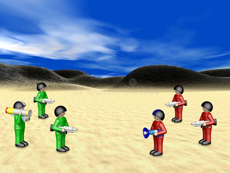 Spielzeugsoldaten in der sonnigen Landschaft vektor abbildung