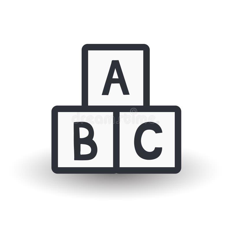 Spielzeugwürfel mit Alphabet stock abbildung