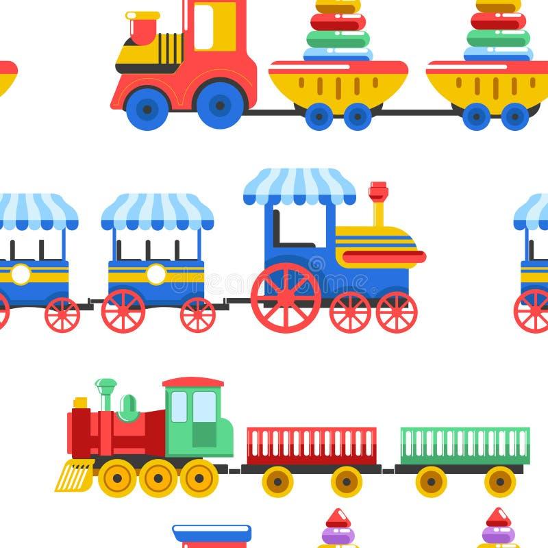 Spielzeugzüge mit Kinderspielwaren und Kinderspielzeugen für Kindergartenjungenkinder entwerfen nahtloses Muster lizenzfreie abbildung