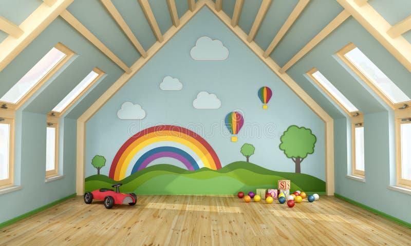spielzimmer im dachboden stock abbildung illustration von. Black Bedroom Furniture Sets. Home Design Ideas