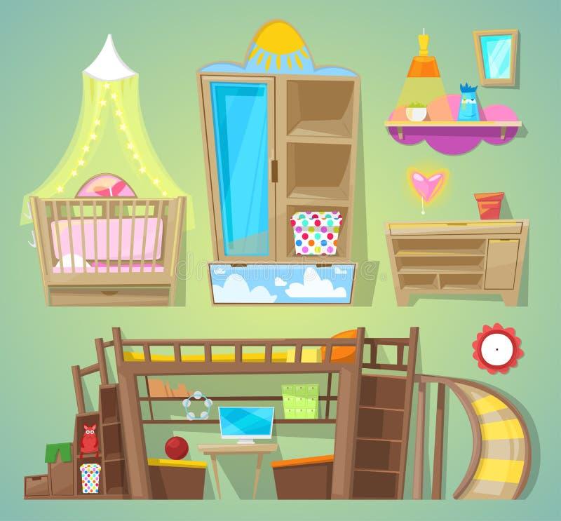 Spielzimmervektorkindermöbelbett in geliefertem Innenraum des babyroom Illustrationssatzes Einrichtungsgegenstände entwerfen für  stock abbildung