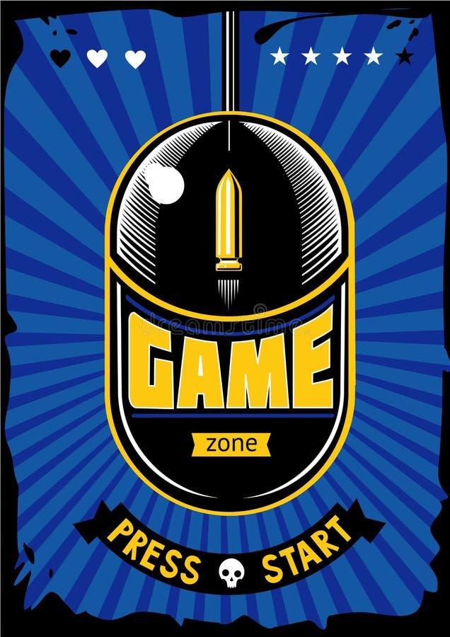 Spielzonen-Weinleseplakat Retro- Illustration der Computervideospiele Spielvektorhintergrund mit Maus und Kugel stock abbildung