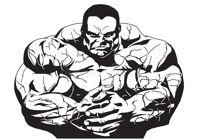 Spier bodybuilder stock illustratie