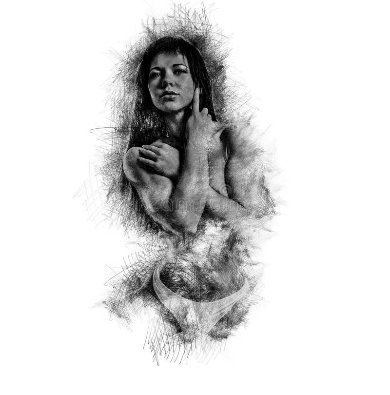 Spier bouw jonge vrouw Digitaal art royalty-vrije illustratie