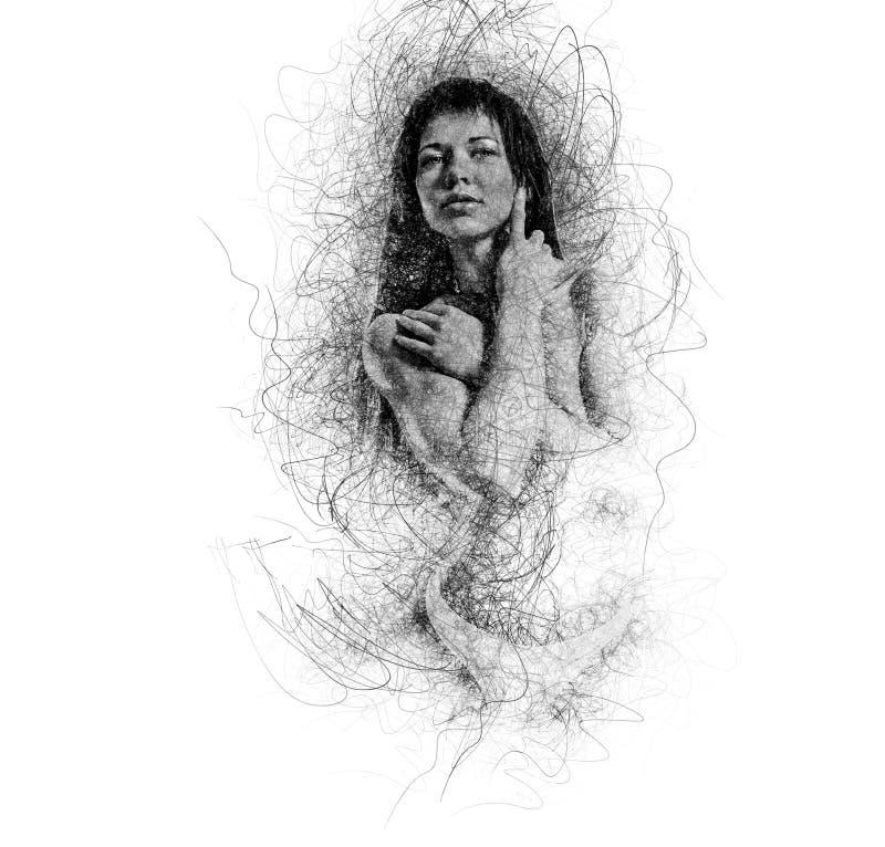Spier bouw jonge vrouw Digitaal art vector illustratie