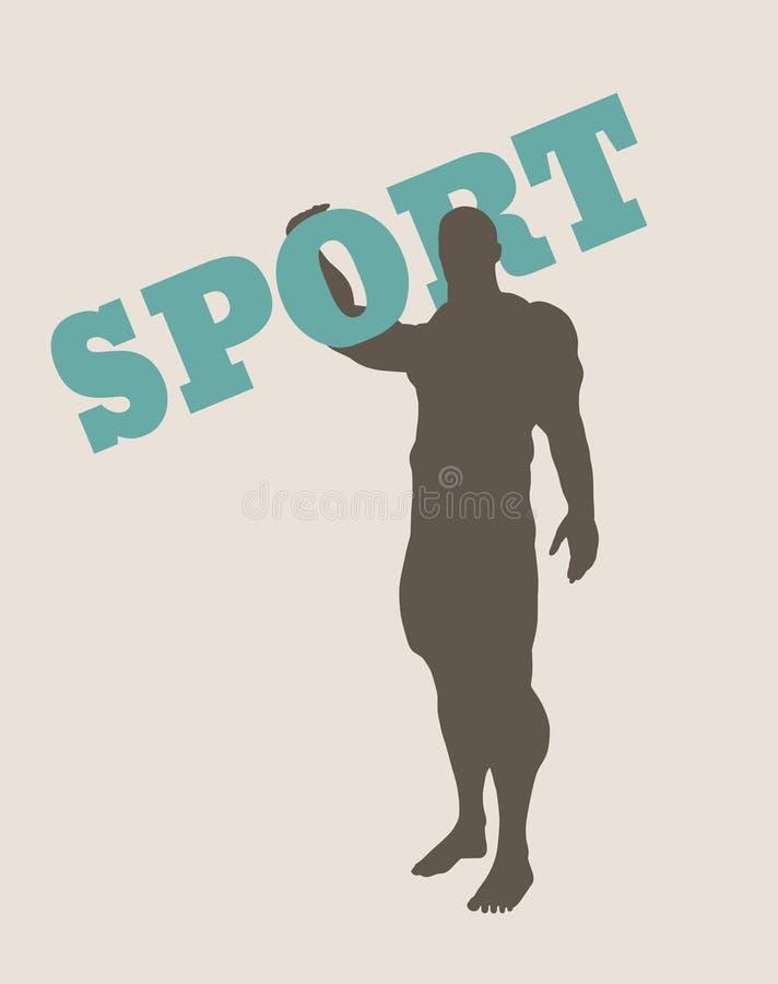 Spier de sportwoord van de mensenholding Vector Silhouet vector illustratie
