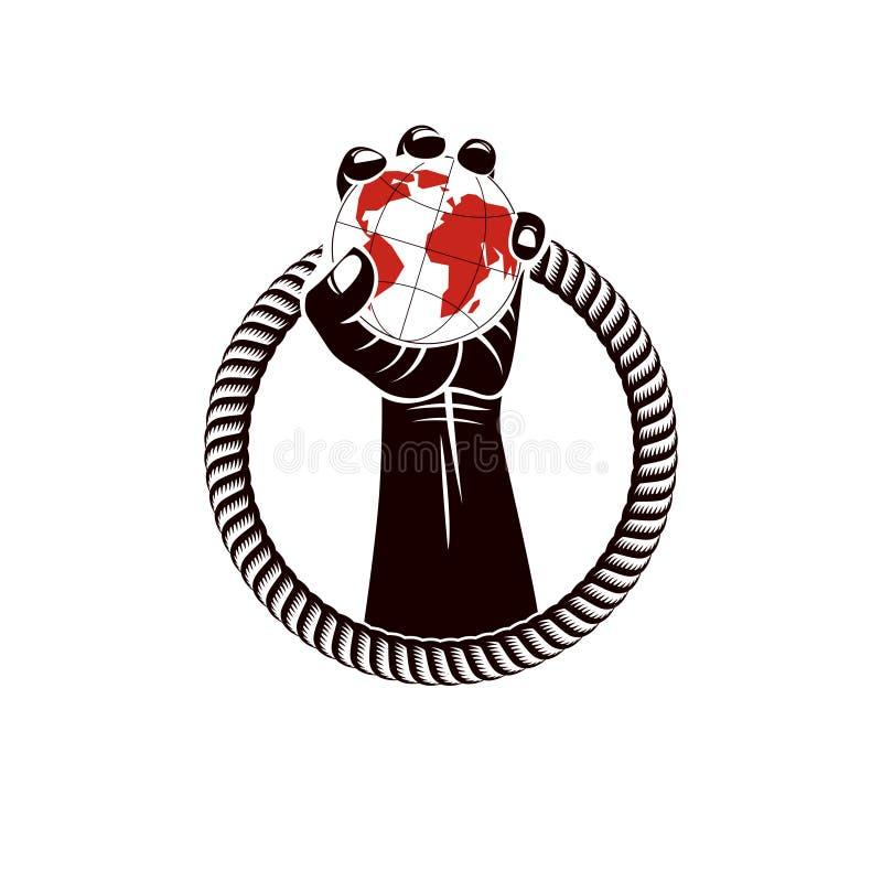 Spier dichtgeklemde vuist van de sterke die mens door kabel en greep wordt omringd vector illustratie